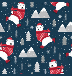 Christmas seamless pattern with polar bear ice vector