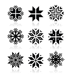 Christmas winter snowflakes icons set vector