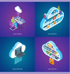cloud services concepts set vector image