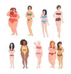 collection gorgeous women different race vector image