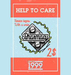 Color vintage pharmacy banner vector