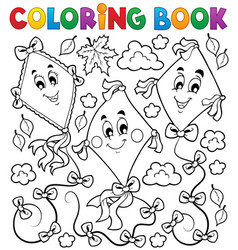Coloring book with three kites vector