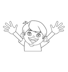 cute boy character comic young happy icon vector image