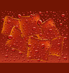 Dark red water with drops and ice cubes background vector
