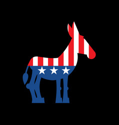 democrat donkey and us flag political party vector image
