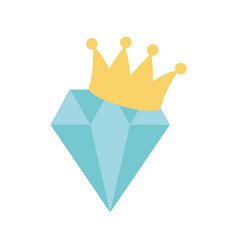 Diamond with crown icon on white background vector