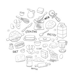 different dough items and kitchen accessories in vector image