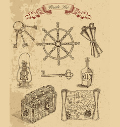 Engraved set with pirate objects vector