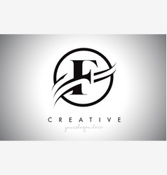 F letter logo design with circle swoosh border vector
