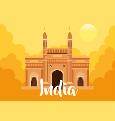 Famous monument india in background for happy vector