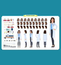 Female doctor character creation setfront side vector