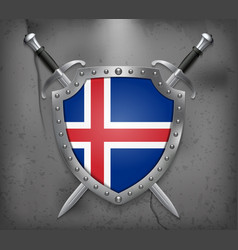 Flag of iceland the shield with national flag vector