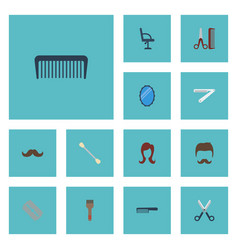 Flat icons razor cotton buds whiskers and other vector