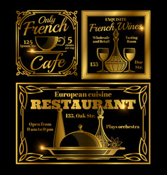 french and european cafe restaurant labels vector image