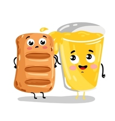Funny puff pastry and lemonade cartoon characters vector image