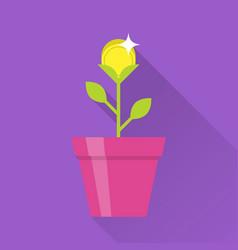 Gold coin flower pot icon vector