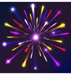 Graphic fireworks in black background vector image