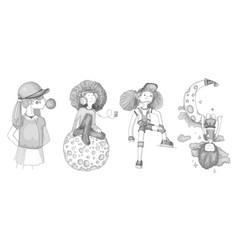 Grayscale set of teenage girl icons cute cartoon vector
