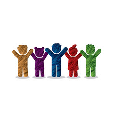 group children holding hands icon vector image