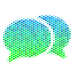 halftone blue-green forum chat icon vector image