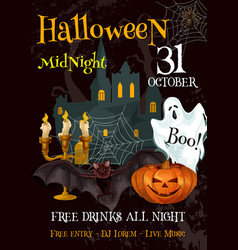 Halloween party night trick or treat poster vector