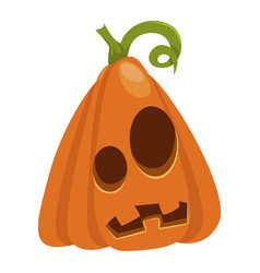 halloween pumpkin icon orange autumn season vector image