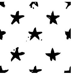 Hand drawn paint seamless pattern black and white vector