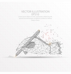 Hand writing digitally drawn low poly wire frame vector