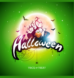 happy halloween with moon flying vector image