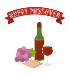 happy passover with grapes vector image