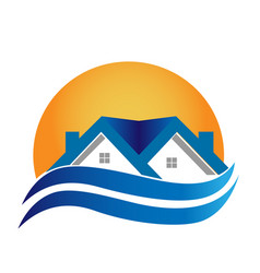 Home under sun set and wavy swooshes icon vector