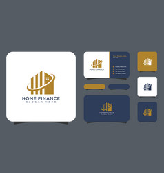 house and business finance logo design vector image
