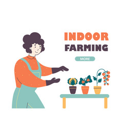 indoor farming and horticulture industry landing vector image