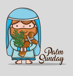 Jesus with palm branches on sunday palm vector