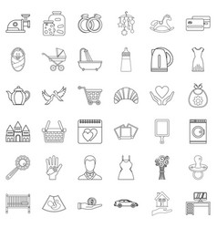joint life icons set outline style vector image