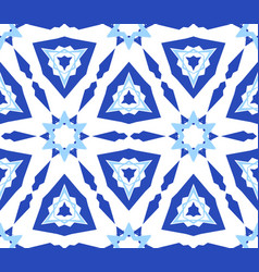 Kaleidoscopic white blue flower pattern vector