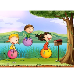 Kids playing near a wooden mailbox vector image