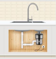 Kitchen sink food waste disposer vector