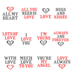knitted love text for valentine day greeting card vector image