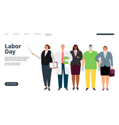 labor day landing page vector image