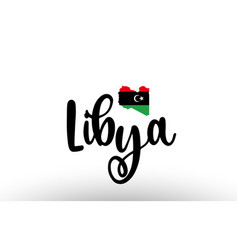 Libya country big text with flag inside map vector