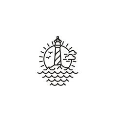 Lighthouse searchlight tower coastal beach logo de vector