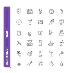 Line icons set bar vector