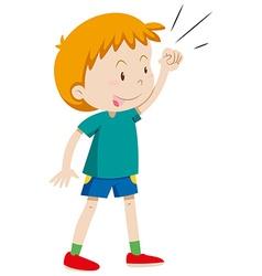 Little boy in green shirt vector