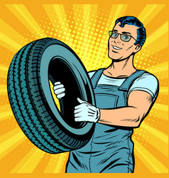 male car mechanic with wheel vector image