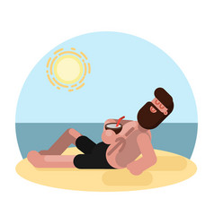 man laying on beach with cocktail vector image