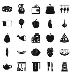 Meat delicacy icons set simple style vector