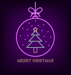 merry christmas neon sign new year holiday bright vector image