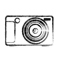 Monochrome sketch of digital photo camera vector