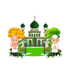 Mosque cartoon with kids vector